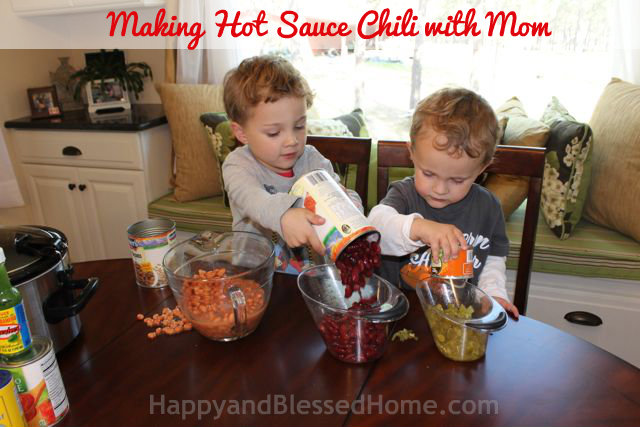 Making Hot Sauce Chili with Mom HappyandBlessedHome.com