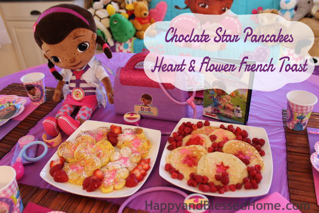 Party Food for Girls Chocolate Star Pancakes Heart and Flower Shaped French Toast HappyandBlessedHome.com