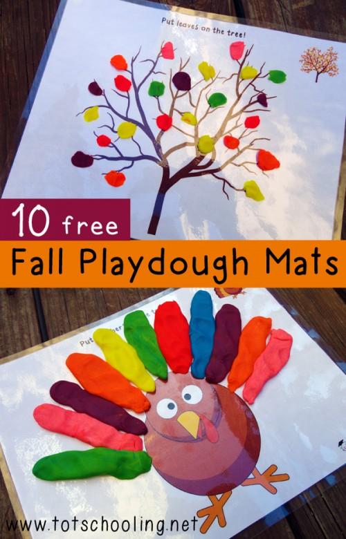 Fun Fall Activities for Kids 10 Free Fall Playdoh Mats
