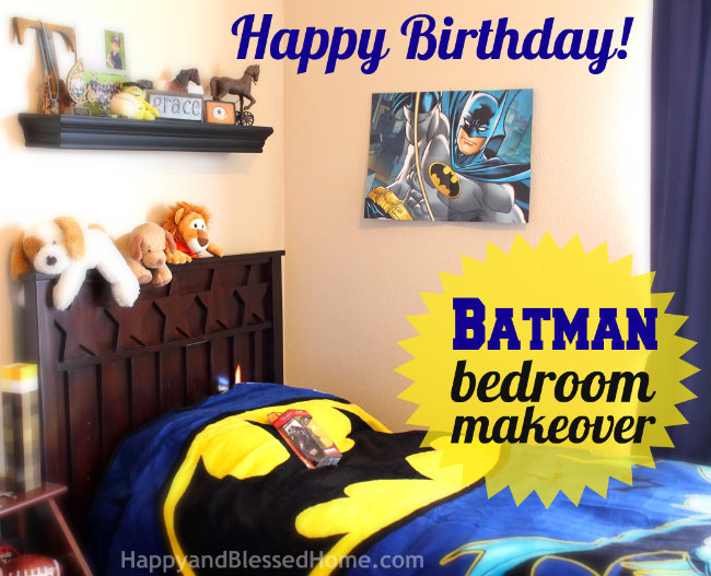 650 Batman Bedroom Makeover with Hallmark Kids Poster Cards HappyandBlessedHome.com