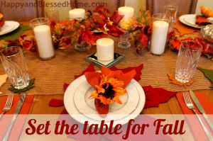 Set the Table for Fall Tablesetting Fall Decorating HappyandBlessedHome.com