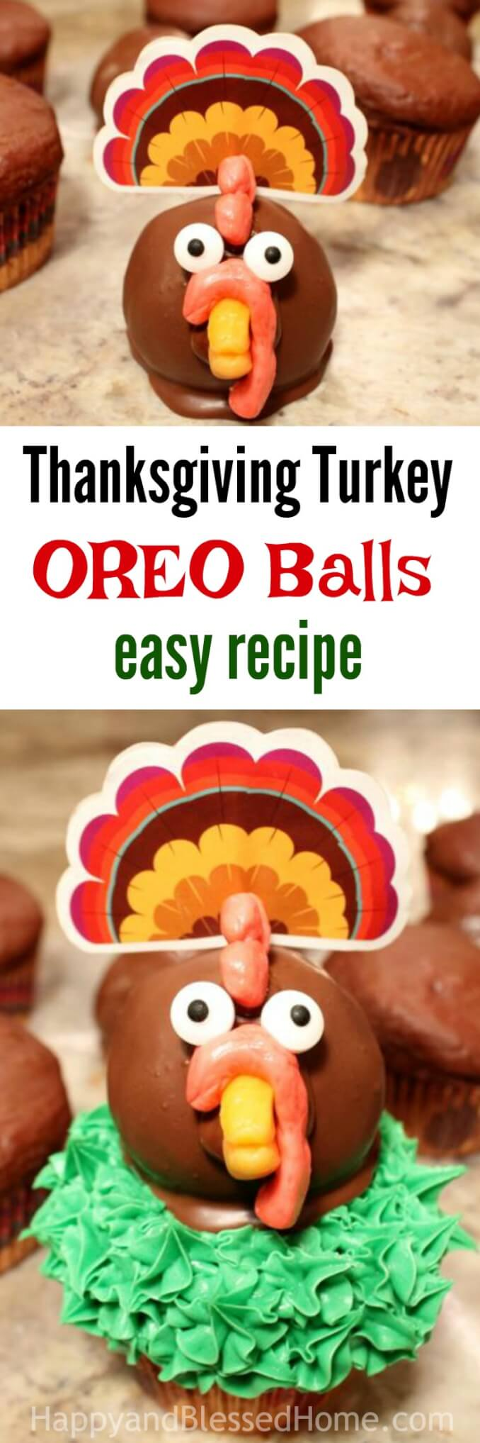 Thanksgiving Turkey Oreo Balls Recipe Tutorial - crunchy cookie center coated in chocolate and decorated with candy - the perfect cupcake topper!