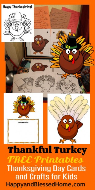 1 Thankful Turkey Free Printables Thanksgiving Day Cards and Crafts for Kids HappyandBlessedHome.com