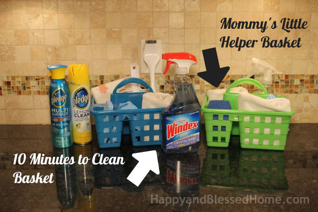 10 Minutes to Clean Basket and Mommy's Little Helper Baskets from HappyandBlessedHome.com