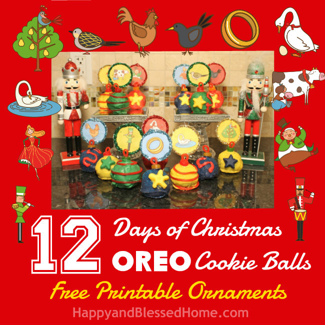 12 Days of Christmas Oreo Cookie Balls Free Printable Ornaments in Red HappyandBlessedHome.com