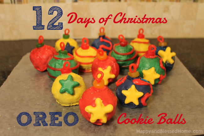 12 Days of Christmas Oreo Cookie Balls with FREE Printable Ornaments HappyandBlessedHome.com