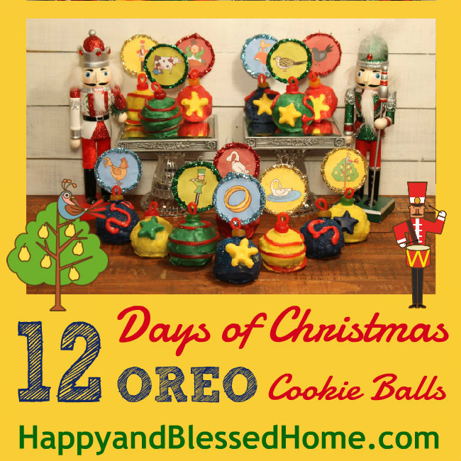 12 Days of Christmas Oreo Cookie Balls with FREE Printable Ornaments Square HappyandBlessedHome.com