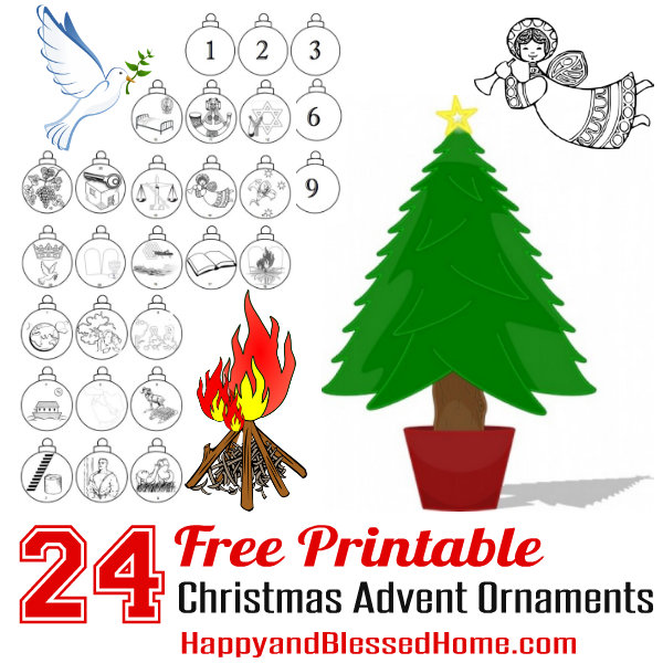 24 free printable christmas advent ornaments from happyandblessedhomecom - Childrens Christmas Ornaments