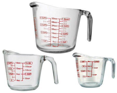 450 Kitchen Tools 3 Glass Measuring Cups with Handles HappyandBlessedHome