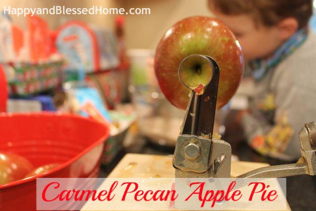 Apple Core Carmel Pecan Apple Pie Holiday Desserts Thanksgiving Pie Christmas Pie HappyandBlessedHome.com
