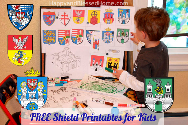 FREE Shield Printables Preschool Activities with Castles and Catapults HappyandBlessedHome.com