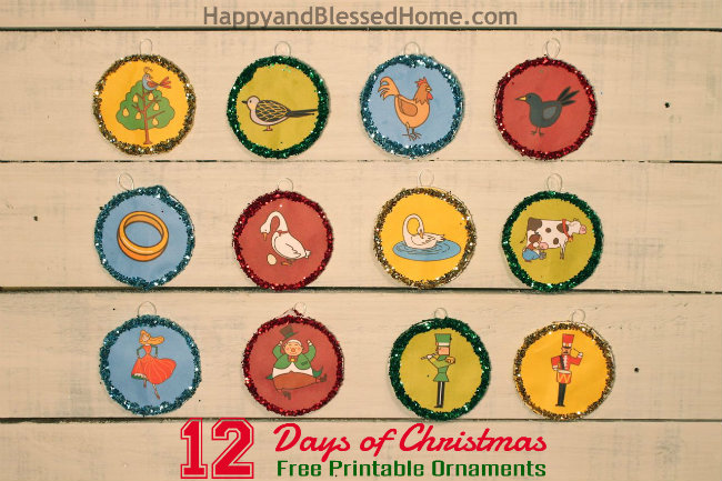 FUN 12 Days of Christmas FREE printable Christmas Ornaments HappyandBlessedHome