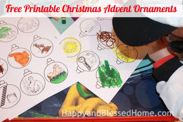 Free Printable Christmas Adent Ornaments HappyandBlessedHome.com