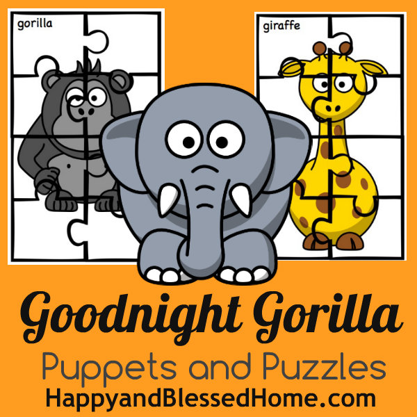 Goodnight Gorilla Free Printable Puppets and Puzzles