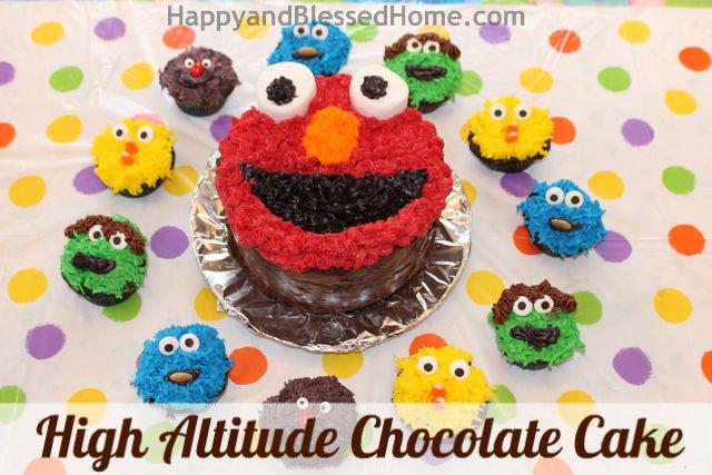 High Altitude Chocolate Cake Sesame Street Elmo HappyandBlessedHome.com