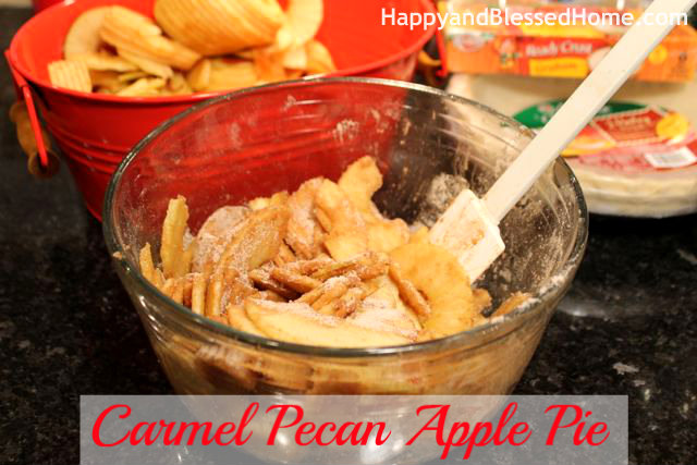 How to Make Carmel Pecan Apple Pie - Coating - Great Holiday Dessert, Thanksgiving Pie or Christmas Pie from HappyandBlessedHome.com