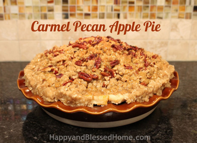 How to Make Carmel Pecan Apple Pie Tutorial HappyandBlessedHome.com