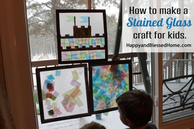 How to Make a Stained Glass Craft for Kids HappyandBlessedHome.com