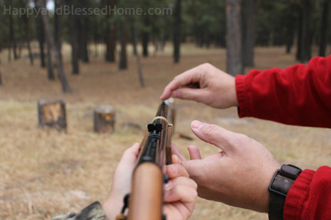 How to aim a Red Ryder Daisy BB gun HappyandBlessedHome.com