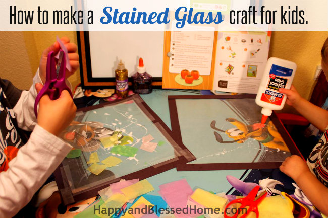How to make a stained glass craft for kids with glue HappyandBlessedHome.com