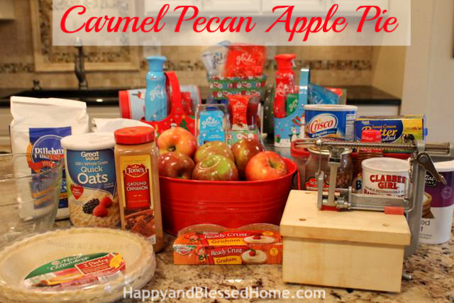 Ingredients for Carmel Pecan Apple Pie Holiday Desserts Thanksgiving Pie Christmas Pie HappyandBlessedHome.com