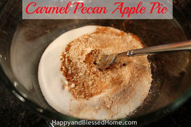 Mix Filling Carmel Pecan Apple Pie Holiday Desserts Thanksgiving Pie Christmas Pie HappyandBlessedHome.com