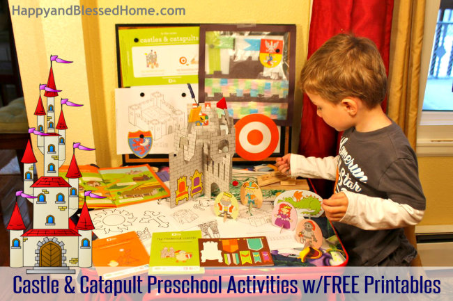 Preschool Activities with Castles, Catapults and Shields and FREE Shield Printables Set up HappyandBlessedHome.com