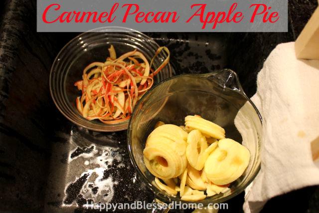 Sink Carmel Pecan Apple Pie Holiday Desserts Thanksgiving Pie Christmas Pie HappyandBlessedHome.com