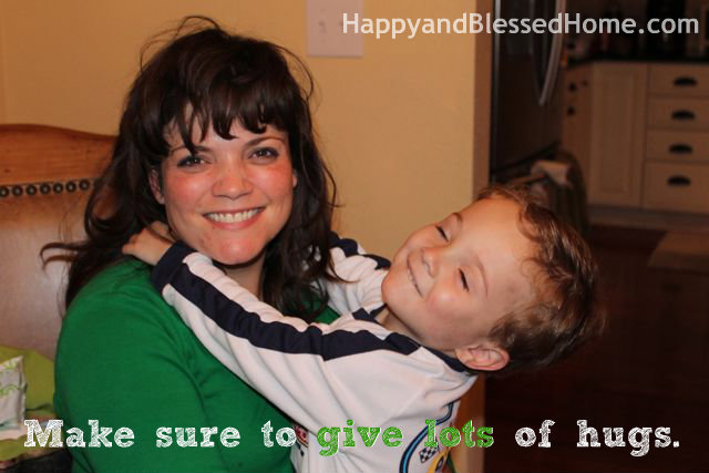 Teaching Toddlers Thankfulness - Give Lots of Hugs Photo Copyright 2014 HappyandBlessedHome.com