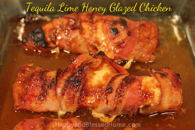 Tequila Lime Honey Glazed Chicken right out of the oven HappyandBlessedHome.com