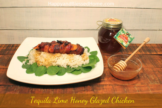 Tequila Lime Honey Glazed Chicken with Don Victor Honey Sauce HappyandBlessedHome.com