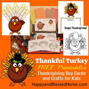 Thankful Turkey FREE Printables Thanksgiving Day Cards and Crafts for Kids HappyandBlessedHome.com