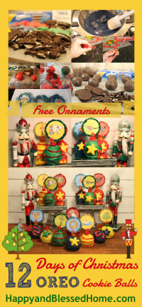 12 Days of Christmas Oreo Cookie Balls with FREE Printable Ornaments All Steps HappyandBlessedHome.com
