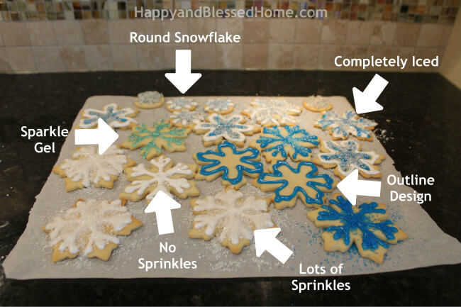 6 Snowflake Cookie Designs from HappyandBlessedHome.com