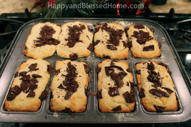 Cream Cheese with Chocolate Chunks Mini Loaves HappyandBlessedHome.com