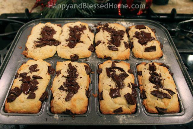 Cream Cheese with Chocolate Chunks Mini Loaves HappyandBlessedHome.com
