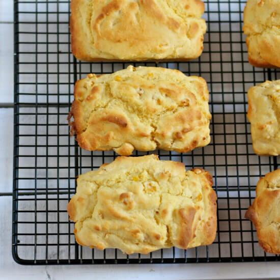 Creamy Corn Bread Recipe on Rack HappyandBlessedHome.com