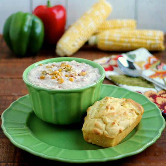 Creamy Cornbread and Kickin' Crab & Sweet Corn Chowder HappyandBlessedHome.com