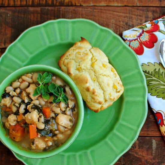 Creamy Corn Bread and Tuscan-Style Chicken and White Bean Soup HappyandBlessedHome.com