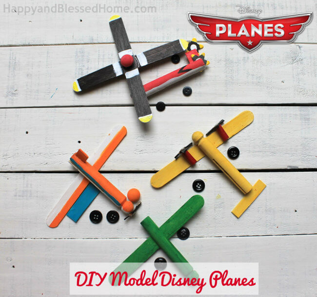 DIY Disney Model Planes from clothespins or wooden doll pins pre-assembly HappyandBlessedHome.com