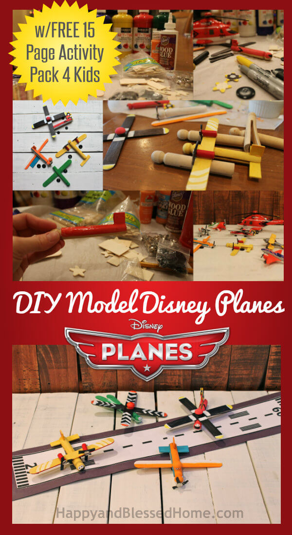 DIY Model Airplanes featuring Disney Planes using wooden clothespins from HappyandBlessedHome.com