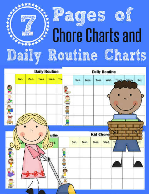 FREE Chore Charts to help get Kids to Clean Square from HappyandBlessedHome.com