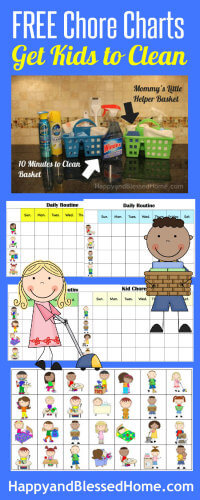FREE Chore Charts to help get Kids to Clean from HappyandBlessedHome