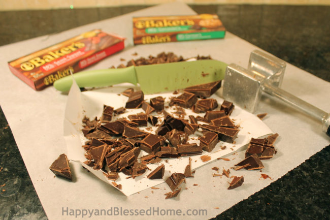 How to cut a rough hewn chocolate bar HappyandBlessedHome.com