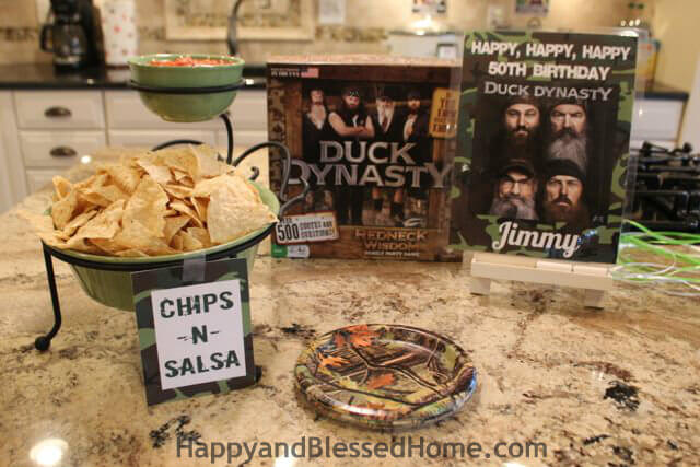 Hunting Theme Parties with Camouflage and Duck Dynasty Chips from HappyandBlessedHome.com