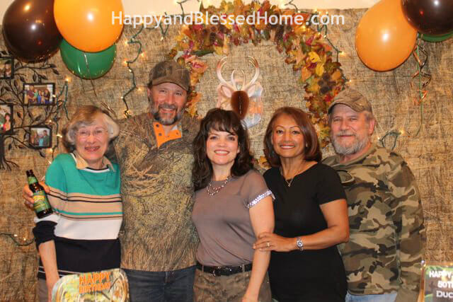 Hunting Theme Parties with Camouflage and Duck Dynasty Family Photo from HappyandBlessedHome.com