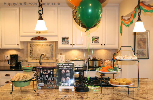 Hunting Theme Parties with Camouflage and Duck Dynasty in Kitchen from HappyandBlessedHome.com
