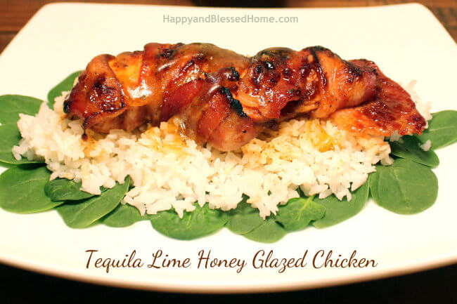 Tequila Lime Honey Glazed Chicken closeup HappyandBlessedHome.com