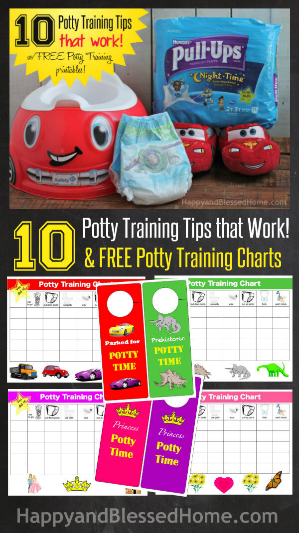 10 Potty Training Tips that Work and FREE Potty Training Charts from HappyandBlessedHome.com