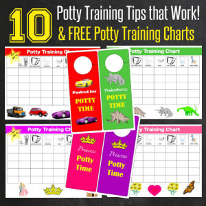 10 Potty Training Tips that Work with 8 fun Potty Training Charts from HappyandBlessedHome.com